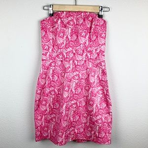 VINEYARD VINE Shells All Over Strapless Party Pink